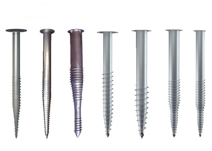 Metal Ground Screw Piles Steel Anchor Helical Length 1000~3500mm Anticorrosive
