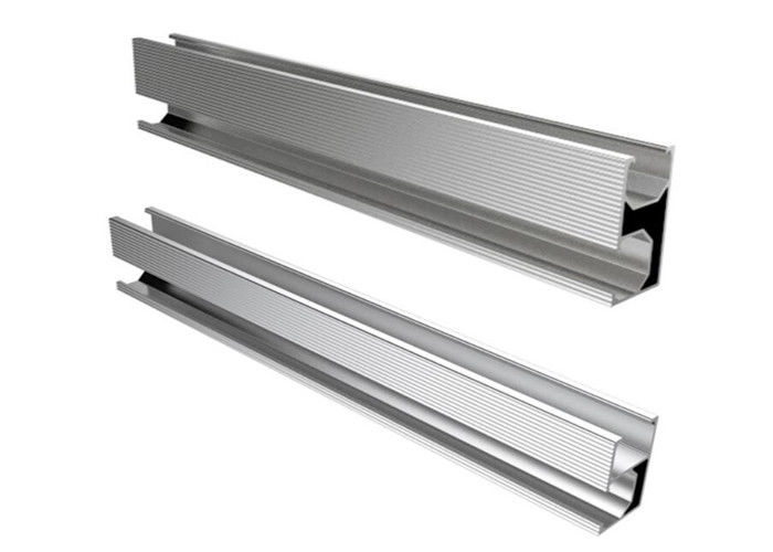 Silver Aluminum Slotted Rail For Solar Energy System Roof Ground Project